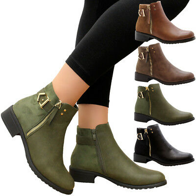 70dd357e2100f Ladies Womens Casual Flat Ankle Block Heels Chelsea Boots Work Office Shoes  Size