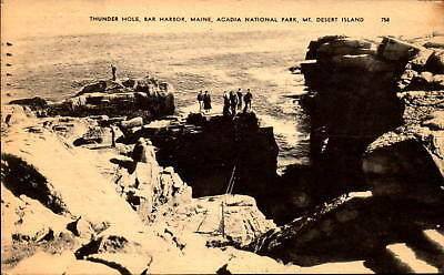 Postcard Thunder Hole Bar Harbor Maine Acadia