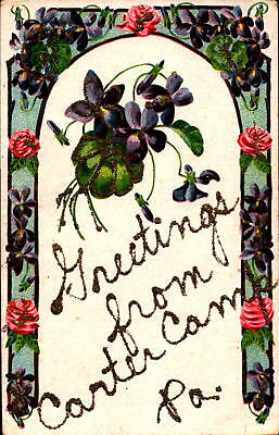 Postcard floral card glitter Greetings from Carter Camp Pennsylvania