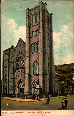 Postcard Boston Cathedral of the Holy Cross 1907 Massachusetts Postmark