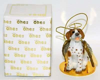 "Pointer Dog Figurine Ornament Angel 2"" Mini Figure Tiny Ones 1996 Brown White"