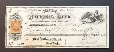 1867 Cooperstown New York First National Bank Check 2 Cent Revenue Stamp