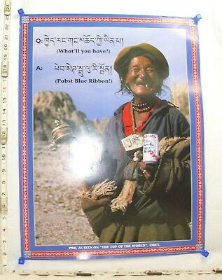 Pabst Blue Ribbon Pbr As Seen On Top Of The World Tibet Poster 2000