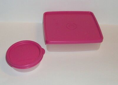 Tupperware Fuchsia Pink Square Away Sandwich Keeper Half Snack Cup Set
