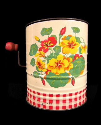 Vintage RED CHECK FLOUR SIFTER Tin Metal Kitschy 1950's Kitchen Flowers Litho