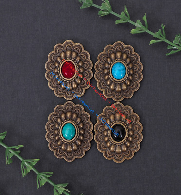10x Antique Brass Ethnic Oval Flower Turquoise Leathercraft CONCHOS Rivet Back