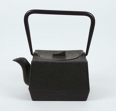 Cast Iron Teapot with Basket Infuser Stationary Handle 20 oz Square Metal