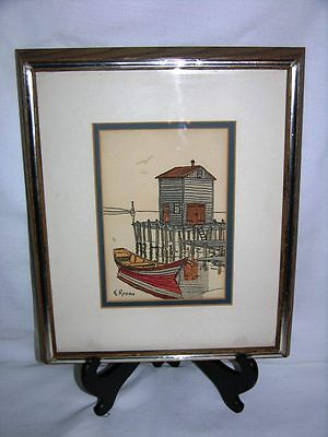 Vintage water color framed original signed K. Rodko seascape