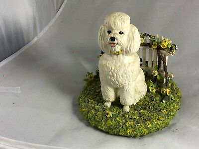 White Poodle in Garden by Picket Fence Yellow Flowers Resin Sculpture Bergi Wood