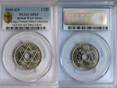 1940-KN British West Africa 1/2 Penny PCGS SP65 - Ex. Rare Kings Norton Proof