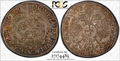 1694-MF Regensburg Germany 1/2 Taler PCGS MS65  - Extremely Rare - Mintage: 1245