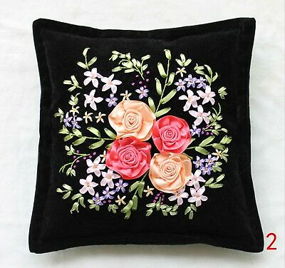 DIY Ribbon Embroidery Kit Blossom Roses Flower Cushion Cover Marked Pattern 45cm