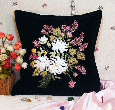 DIY Ribbon Embroidery Kit Chamomile Flower Cushion Cover Marked Pattern 45cm