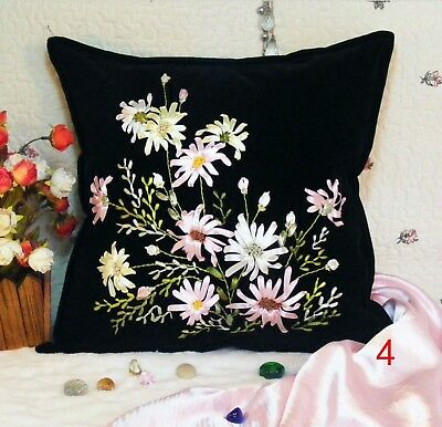 DIY Ribbon Embroidery Kit Wild Chamomile Cushion Cover Marked Pattern Black 45cm
