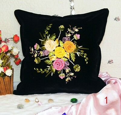 DIY Ribbon Embroidery Kit Rose Bouquet Cushion Cover Marked Pattern Black 45cm