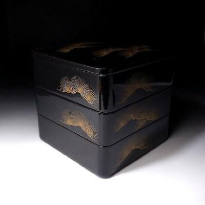 JM3: Vintage Japanese Lacquered Wooden Multitiered Box, Jyubako