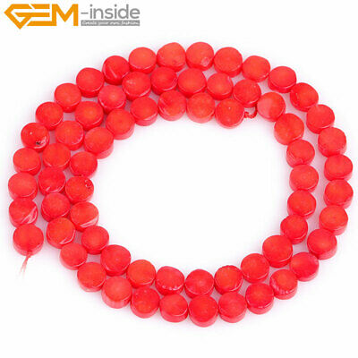 "Red Pink Dyed 6mm Flat Coin Coral Gemstone DIY Beads Loose Strand 15"" Wholesale"