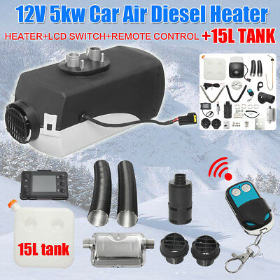 12V 5KW Air Diesel Heater Remote + Silencer 15L Tank For Trucks Boat Car Trailer