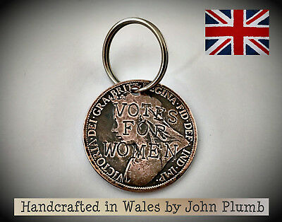 Queen Victora Defaced Penny Coin Suffragette KeyFob Votes for Women . Pankhurst