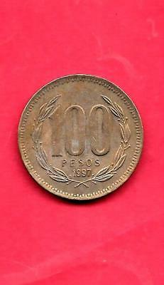 Chile Km226.2 1997 Vf-Very Fine-Nice Large Older 100 Pesos Circulated Coin