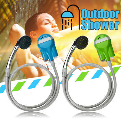 Portable Outdoor Shower Water Pump Head Rechargeable Nozzle Camp Travel Kit Hook