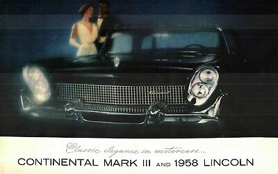 1958 CONTINENTAL MARK III and LINCOLN PRESTIGE COLOR SALES CATALOG
