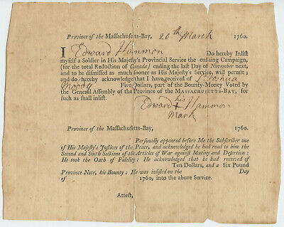 1760 French Indian War Massachusetts Soldier Enlistment Colonial Document Hammon
