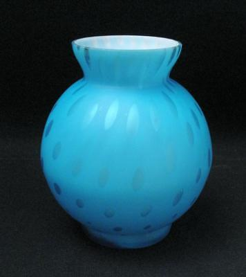 Antique Victorian Satin Glass Cased Blue Vase Encapsulated Air Bubbles