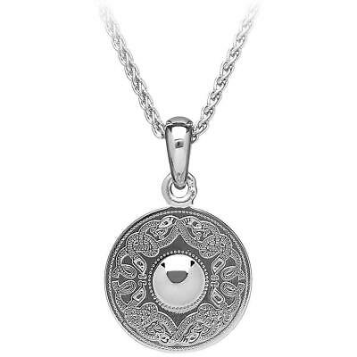 Large Sterling Silver Irish Celtic Warrior Shield Pendant Necklace From Ireland