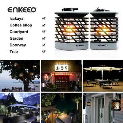 2X Solar Power Lantern Candle Light LED Flameless Flickering Outdoor Garden Lamp