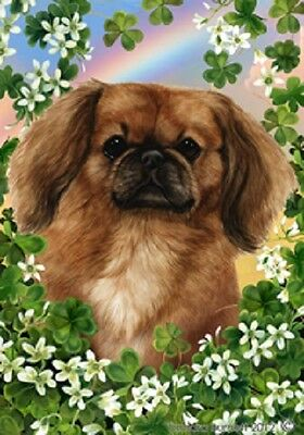 Large Indoor/Outdoor Clover Flag - Fawn Pekingese 31043