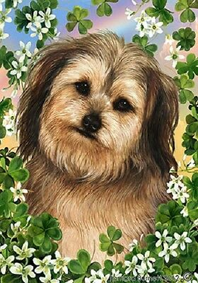 Large Indoor/Outdoor Clover Flag - Tan Yorkiepoo 31263