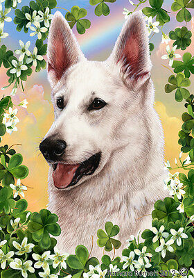 Large Indoor/Outdoor Clover Flag - White German Shepherd 31195