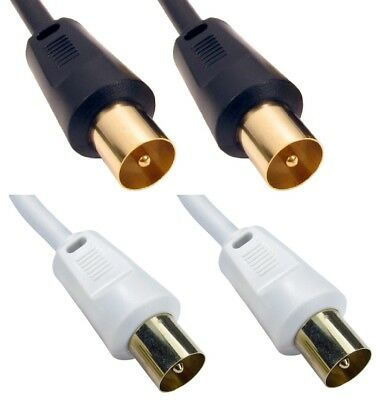 Male to Male Coaxial Aerial Cable RF Lead For Digital TV Short or Long