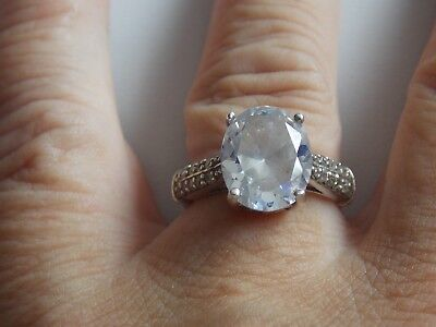 Fab Dramatic Looking Large Oval CZ & Sterling Silver Ring Sz N