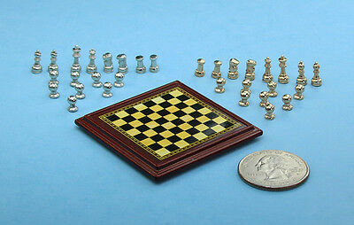 1:12 Scale Dollhouse Miniature Metal Chess Set with Gold & Silver Pieces #ZCB