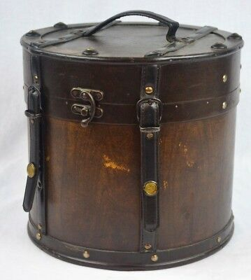 Vintage Wood Leather Case Hat Wig Box Luggage