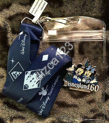 Disney Pin-Lanyard Disneyland 60th Diamond LIMITED Mickey Travel Co Promo Pack