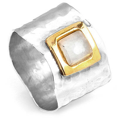 Sterling Silver 925 Moonstone Ring Hammered Wide Band with Square Stone Size 8 9