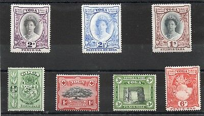 Tonga 1942 short set to 1s. sg 74-80 H.Mint