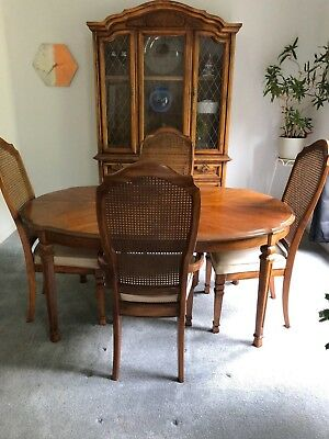 Vintage Stanley Dinette Set - Hutch - Buffet - Table with Leaf - 4 Chairs