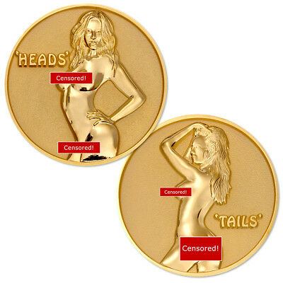 NEW Female Heads or Tails Flip Challenge Coin. FREE SHIPPING