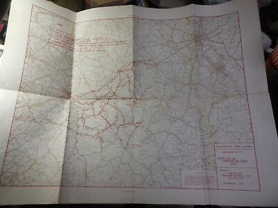 Vintage 1945 WW II 1st US Army Map of Belgium / Germany / Netherlands