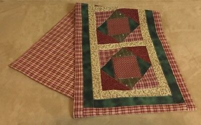 Patchwork Country Quilt Table Runner, Triangles, Squares, Cranberry, Brown