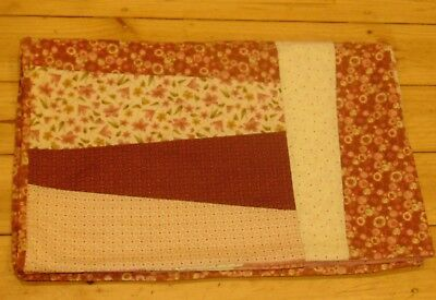 Pink Patchwork Quilted Blanket Lap Quilt Knee Throw Hand Made  71 Cm X 128 Cm