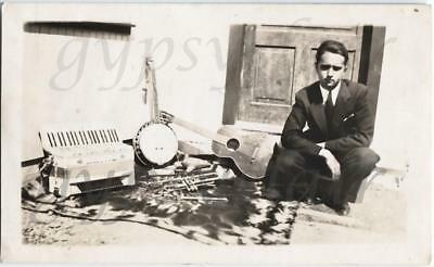 1920s Photo Musician Wayne Henry w Slide Whistle Squeezebox Horn Guitar Banjo +