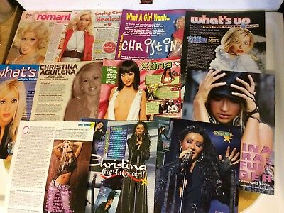 Christina Aguilera, Lot of NINE Full and Two Page Vintage Clippings