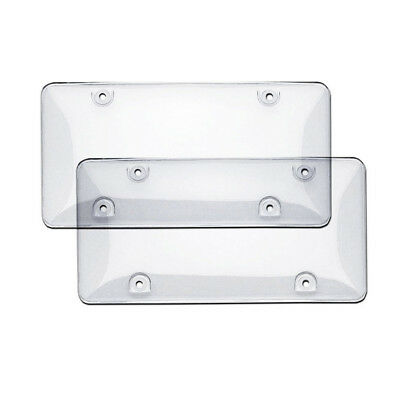 License Plate Cover Frame Shield Tinted Bubbled Flat Car Clear HY