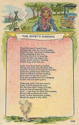 c1910 The Gypsy's Warning - Poem/Poetry Postcard