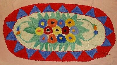 "Unmarked~oval~throw Rug~23"" x 44"" ~ good condition ~ Vtg~ multi color~homemade??"